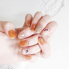 圆形橙色银色水波纹花朵全国连锁日式学校学美甲加微信:mjbyxs15美甲图片