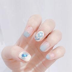 方圆形蓝色白色亮片花朵平法式全国连锁日式学校学美甲加微信:mjbyxs15美甲图片