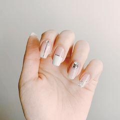方圆形白色裸色银色金银线钻平法式新娘美甲图片