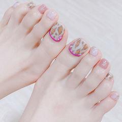脚部粉色棕色手绘豹纹美甲图片