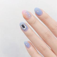 圆形蓝色粉色竖形渐变钻磨砂美甲图片