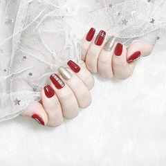 方圆形红色银色钻线条新娘美甲图片