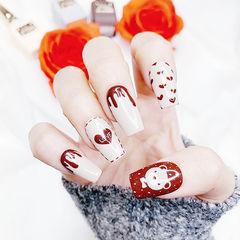 方形红色白色手绘心形可爱美甲图片