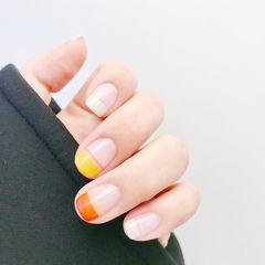 方圆形橙色黄色白色平法式跳色美甲图片
