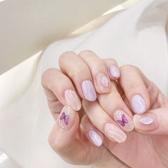 圆形紫色银色水波纹蝴蝶全国连锁日式学校学美甲加微信:mjbyxs15美甲图片