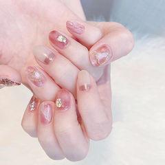 圆形粉色裸色晕染贝壳片心形全国连锁日式学校学美甲加微信:mjbyxs15美甲图片
