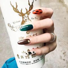 圆形棕色绿色手绘豹纹跳色全国连锁日式学校学美甲加微信:mjbyxs15美甲图片