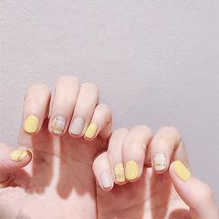 圆形黄色裸色格纹短指甲全国连锁日式学校学美甲加微信:mjbyxs15美甲图片