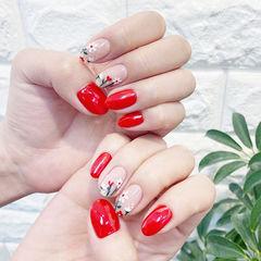 圆形红色白色手绘花朵全国连锁日式学校学美甲加微信:mjbyxs15美甲图片