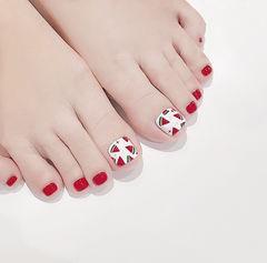脚部红色白色手绘水果西瓜全国连锁日式学校学美甲加微信:mjbyxs15美甲图片