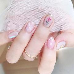 圆形粉色晕染手绘花朵贝壳片全国连锁日式学校学美甲加微信:mjbyxs15美甲图片