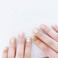 方圆形绿色裸色手绘格纹花朵平法式全国连锁日式学校学美甲加微信:mjbyxs15美甲图片