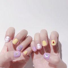 方圆形紫色黄色格纹水果西瓜跳色美甲图片