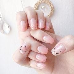 方圆形粉色渐变亮片心形笑脸美甲图片