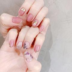圆形粉色手绘花朵贝壳片全国连锁日式学校学美甲加微信:mjbyxs15美甲图片