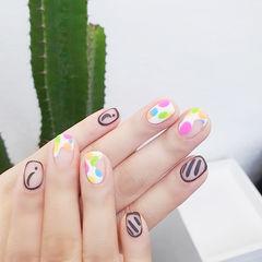 方圆形粉色绿色白色黑色包边磨砂美甲图片