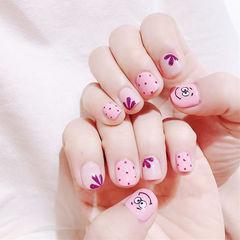 方圆形粉色波点手绘花朵卡通可爱美甲图片