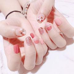 方圆形粉色红色亮片全国连锁日式学校学美甲加微信:mjbyxs15美甲图片