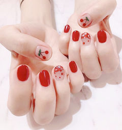 圆形红色水果樱桃亮片美甲图片