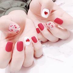 方圆形红色白色钻手绘水果樱桃磨砂美甲图片