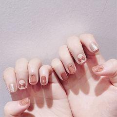 方圆形棕色白色菱形短指甲全国连锁日式学校学美甲加微信:mjbyxs15美甲图片