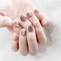 圆形灰色裸色晕染短指甲全国连锁日式学校学美甲加微信:mjbyxs15美甲图片