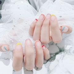 方圆形红色黄色蓝色紫色法式简约短指甲美甲图片