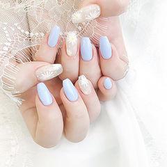 梯形蓝色白色手绘花朵美甲图片
