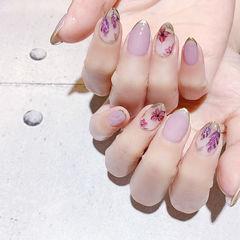 圆形紫色红色手绘花朵包边全国连锁日式学校学美甲加微信:mjbyxs15美甲图片