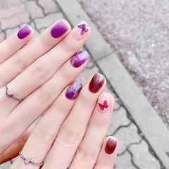 方圆形紫色棕色晕染蝴蝶全国连锁日式学校学美甲加微信:mjbyxs15美甲图片