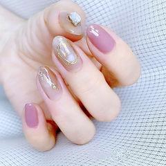 圆形粉色裸色晕染金箔钻全国连锁日式学校学美甲加微信:mjbyxs15美甲图片