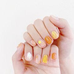 圆形橙色黄色水波纹钻全国连锁日式学校学美甲加微信:mjbyxs15美甲图片