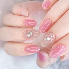 圆形粉色裸色雕花珍珠钻全国连锁日式学校学美甲加微信:mjbyxs15美甲图片