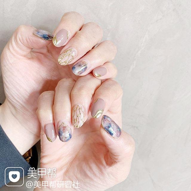 圆形蓝色裸色晕染全国连锁日式学校学美甲加微信:mjbyxs15美甲图片