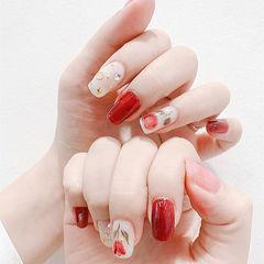 方圆形红色白色花朵钻全国连锁日式学校学美甲加微信:mjbyxs15美甲图片