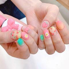 粉色绿色樱桃手绘花朵美甲图片