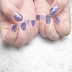 晕染紫色美甲图片