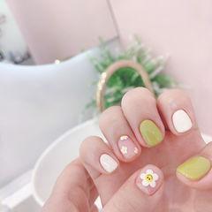 绿色花朵可爱夏天美甲图片