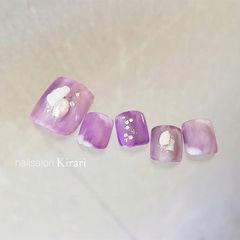 香芋紫色珍珠贝壳片美甲图片