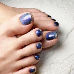 晶石法式脚甲美甲图片
