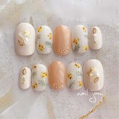 手绘花朵日式美甲图片