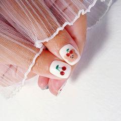 手绘樱桃美甲图片
