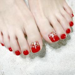 红色脚甲金箔贝壳片美甲图片