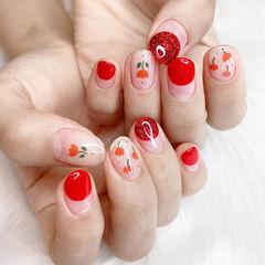 花朵红色圆法式美甲图片