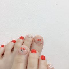 樱桃红色美甲图片
