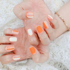 橙色美甲图片