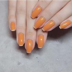 橙色法式美甲图片