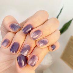 紫色晕染学美甲加微信:mjbyxs15美甲图片