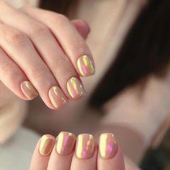 魔镜粉极光色美甲图片