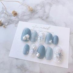 蓝色珍珠美甲图片